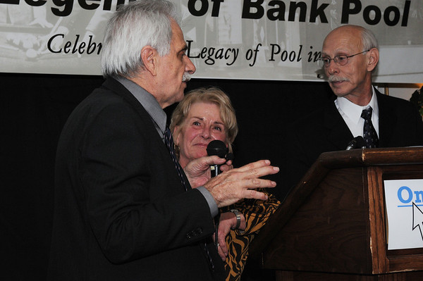 Grady looks on while Danny Di Liberto recalls his Johnston City experience, with George Jansco's daughter, JoAnn McNeal
