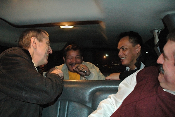 Pat Fleming, Reyes & Bustamante share a laugh on the shuttle over to the dinner<br /> -- Diana Hoppe photo