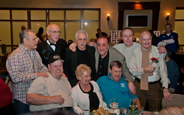 Dennis Cox photo of veterans of Johnston City at the Hall of Fame dinner -- seated left to right, Buddy Hall, JoAnn (Jansco) McNeal, Truman Hogue. Standing left to right, Bill Incardona, Grady Mathews, Danny Diliberto, Fred Bentivegna, George Pawelski and 'Bunny' Roggoff