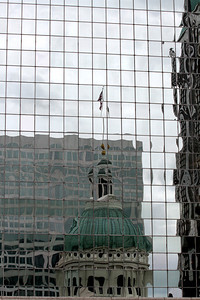 Reflection of the courthouse on the one side