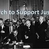 Martin Luther King watching President Johnson signing 1965 Civil Rights Act