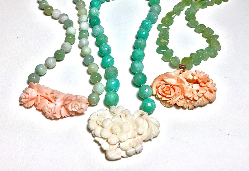 GROUP SHOT OF ANTIQUE CARVED CORAL ONE OF A KINDS