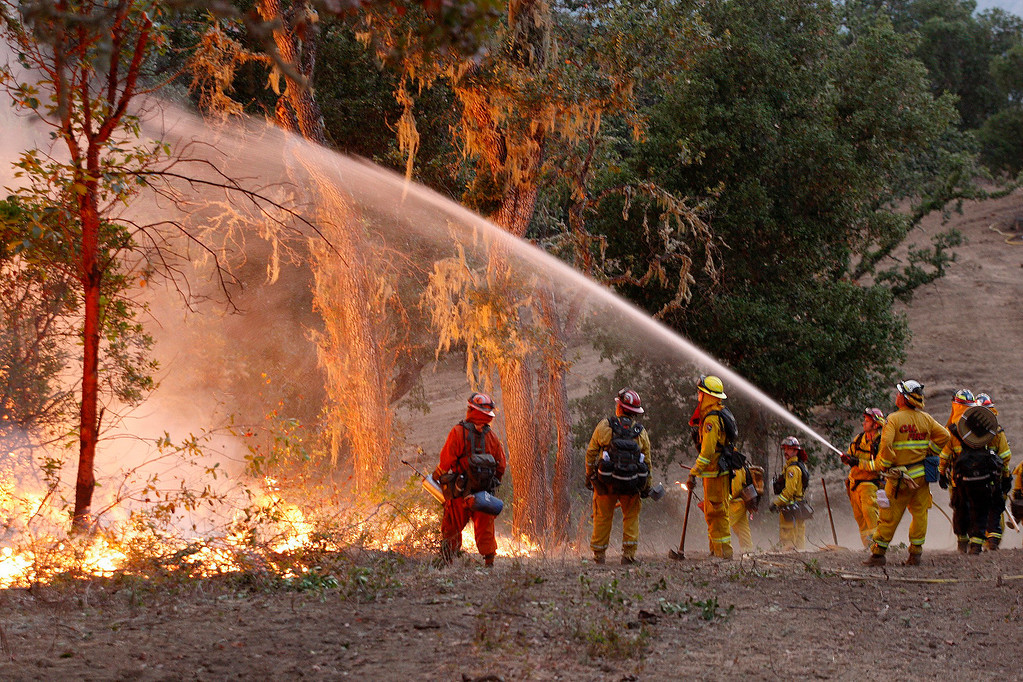 . Cal Fire crews keep the back burn out of the trees during a firing operation west of Cachagua on Tuesday, August 2, 2016.  The Soberanes Fire was 45,800 acres and 25% contained  (Vern Fisher - Monterey Herald)