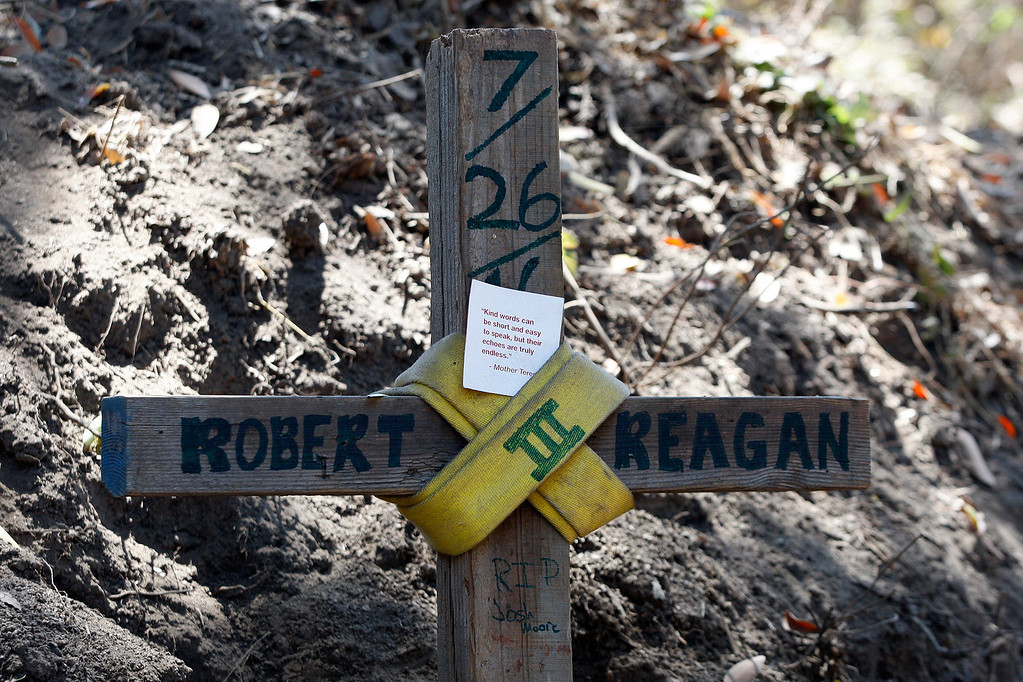 . The memorial cross for dozer operator Robert Reagan III on Saturday, August 6, 2016.  Reagan was killed in a accident on Greenridge Rd. in Palo Colorado Canyon.  The Soberanes Fire is currently at 55,600 acres and has a 40% containment.  (Vern Fisher - Monterey Herald)