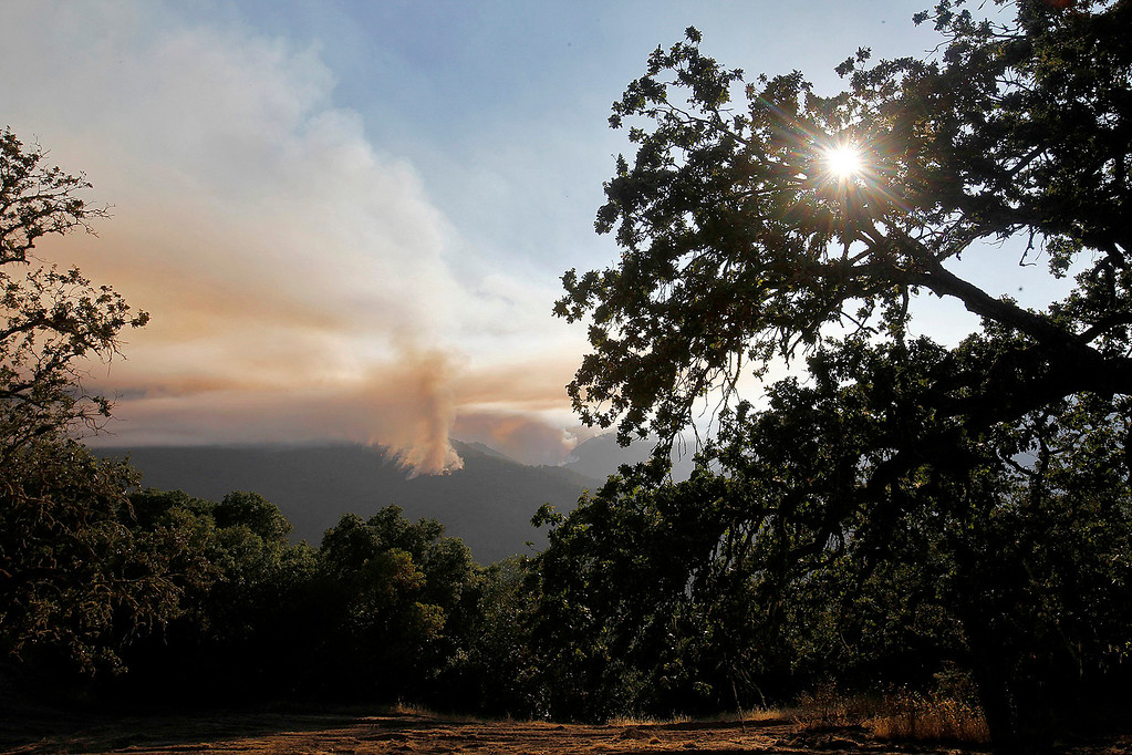 . The Soberanes Fire burns west of Cachagua on Tuesday, August 2, 2016.  The Soberanes Fire was 45,800 acres and 25% contained  (Vern Fisher - Monterey Herald)
