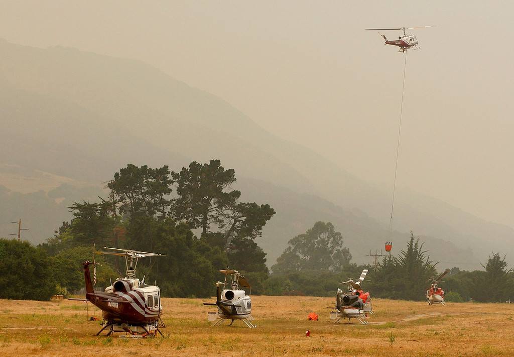 . The Carmel Valley airport is being used as a air base for helicopters fighting the Soberanes Fire on Thursday, July 28, 2016.   (Vern Fisher - Monterey Herald)