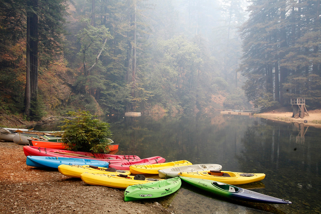. Kayaks at the swimming hole at Camp Pico Blanco on Saturday, August 6, 2016.  The scout camp went undamaged from the Soberanes Fire that is currently at 55,600 acres and has a 40% containment.  (Vern Fisher - Monterey Herald)