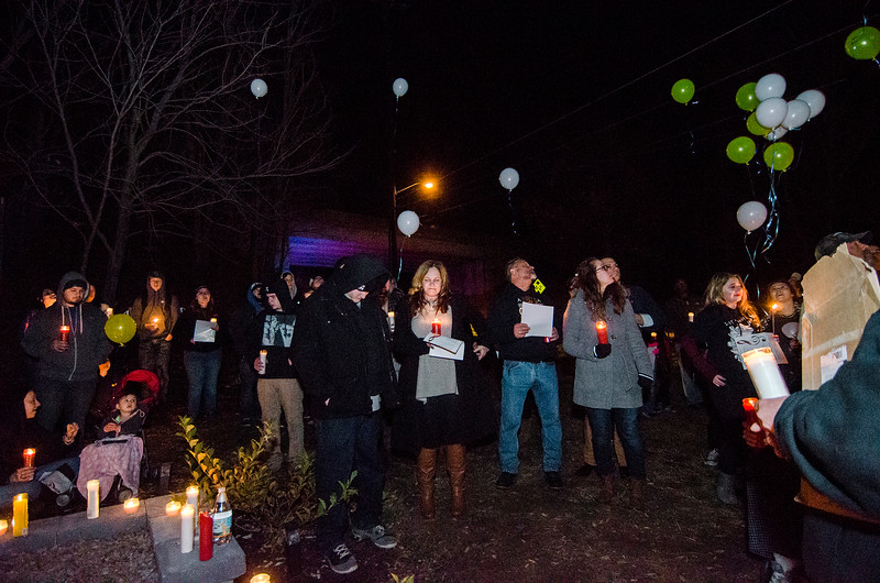 Friends and family of Frankie Fortuna gather on the one year anniversary of the hit-and-run accident that killed the Leominster teen on November 17, 2015. SENTINEL & ENTERPRISE / Ashley Green
