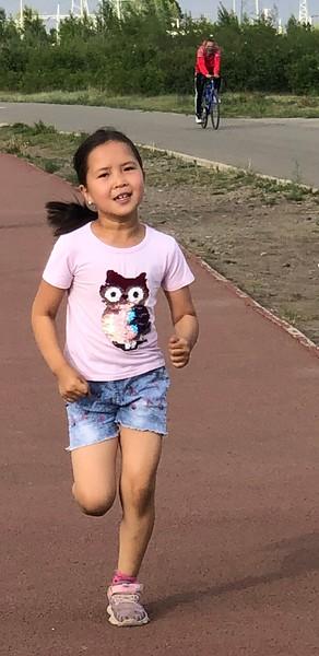 Suvdaa, our photographer, warming up - Ulanbaatar, Mongolia - 15 June