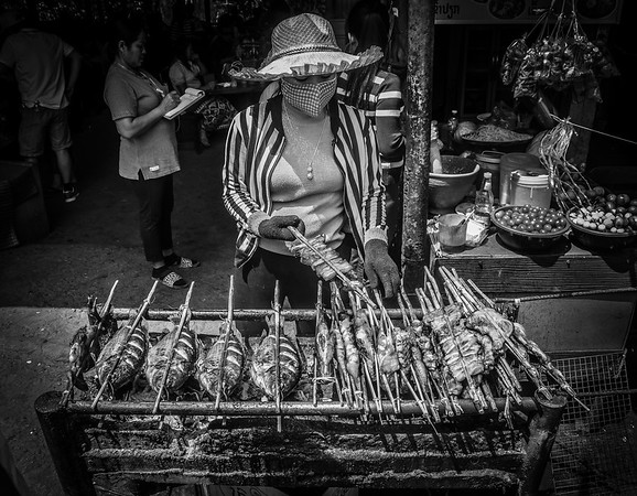 Street food vendor. Luang Prabang, Laos. March 2017.