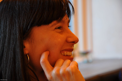 woman smiling profile