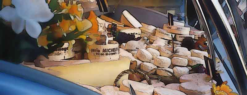 Cheese display at farmers market in Paris - 2002