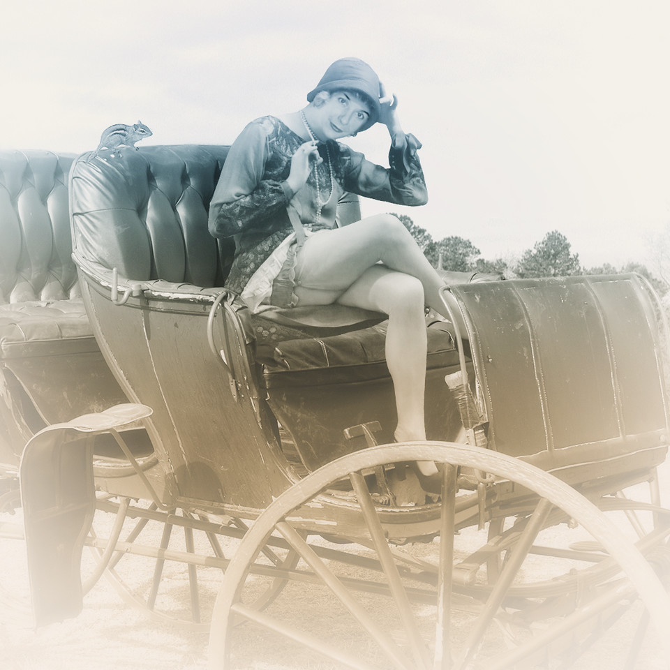 Edith in Wagon