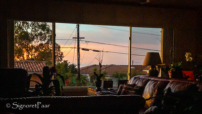 Sunset view from my workspace in the dining room, taken with Lightroom Mobile on iPhone