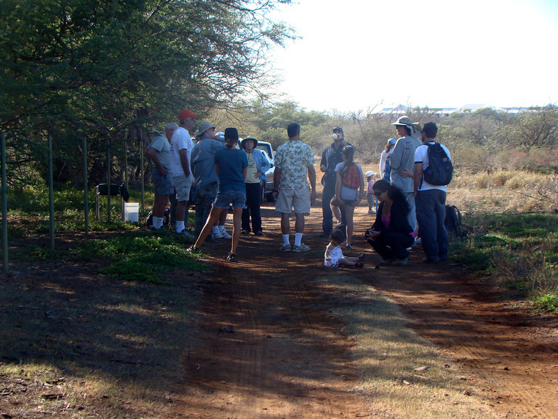 Fern (in longsleeve blue shirt, to right of man with orange cap) introduces the group to today's project. Note the roofline of the new hotel across from Costco on the horizon. You used to be able to be at this end of Kanaha Pond State Wildlife Refuge and not notice Kahului (though the airplanes always intruded, as the airport's nearby).<br /> (photo by Irene Newhouse)
