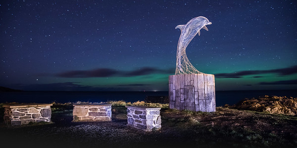 Northern lights at Portsoy in Panoramic.