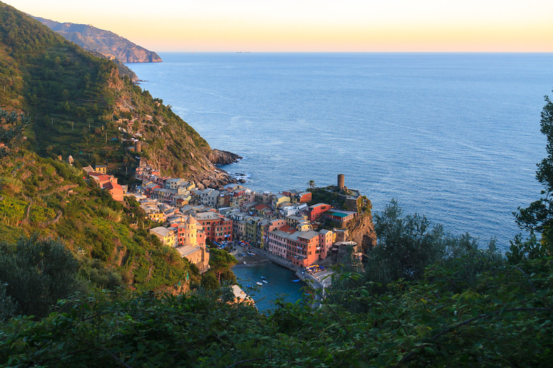 Vernazza at sunset - wide shot