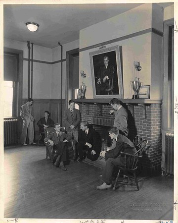 "An ""informal"" conversation with a teacher in the old Schoolhouse, probably 1930s."