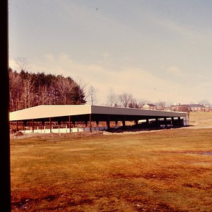 The old hockey rink, with new roof. It lasted only two or three years before being crushed by heavy snow. Grant Rink replaced it in 1973.