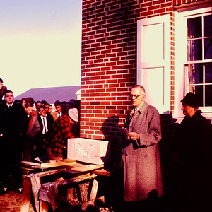 Headmaster Arthur Ferguson dedicates the cornerstone of Sheedy Hall, 1962.