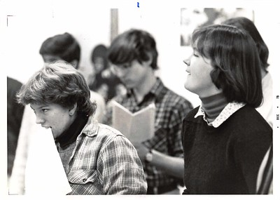 Glee Club rehearsal: l. to r. Bella Blackman, Ian Douglas, Andrea Swanson