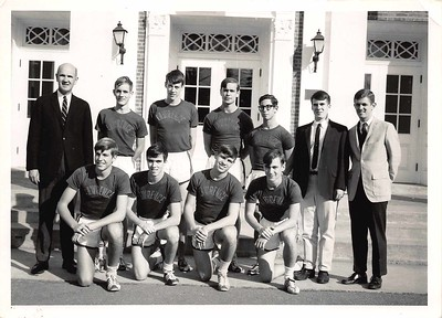 Scott Gillam (r.) with Bob Darling and cross-country team, c. 1966