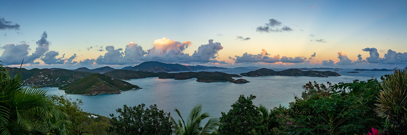 Panorama overlooking Coral Bay, east end St John and Tortola