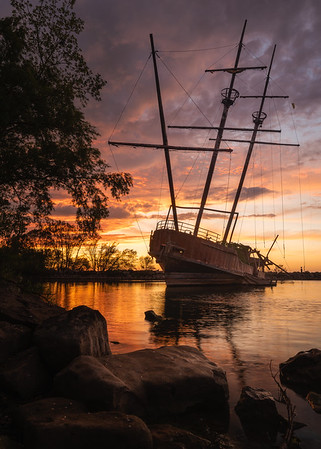 The Pirate Ship At Sunset