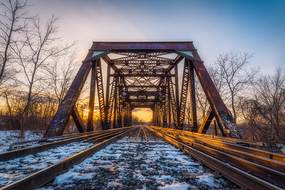 The third Welland Canal CN Railway Bridge at sunset