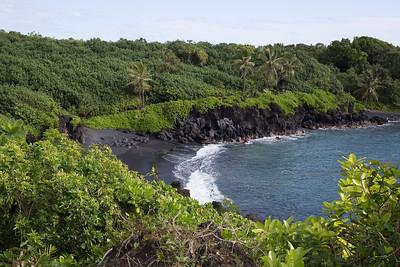 Waianapanapa State Park Black Sand Beach in Maui, Hawaii