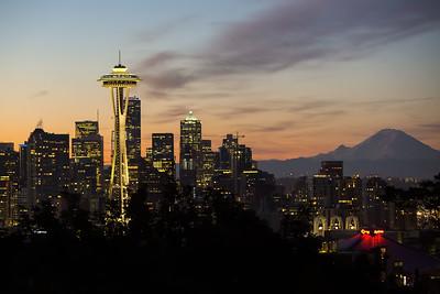 Space Needle Sunrise in Seattle, WA