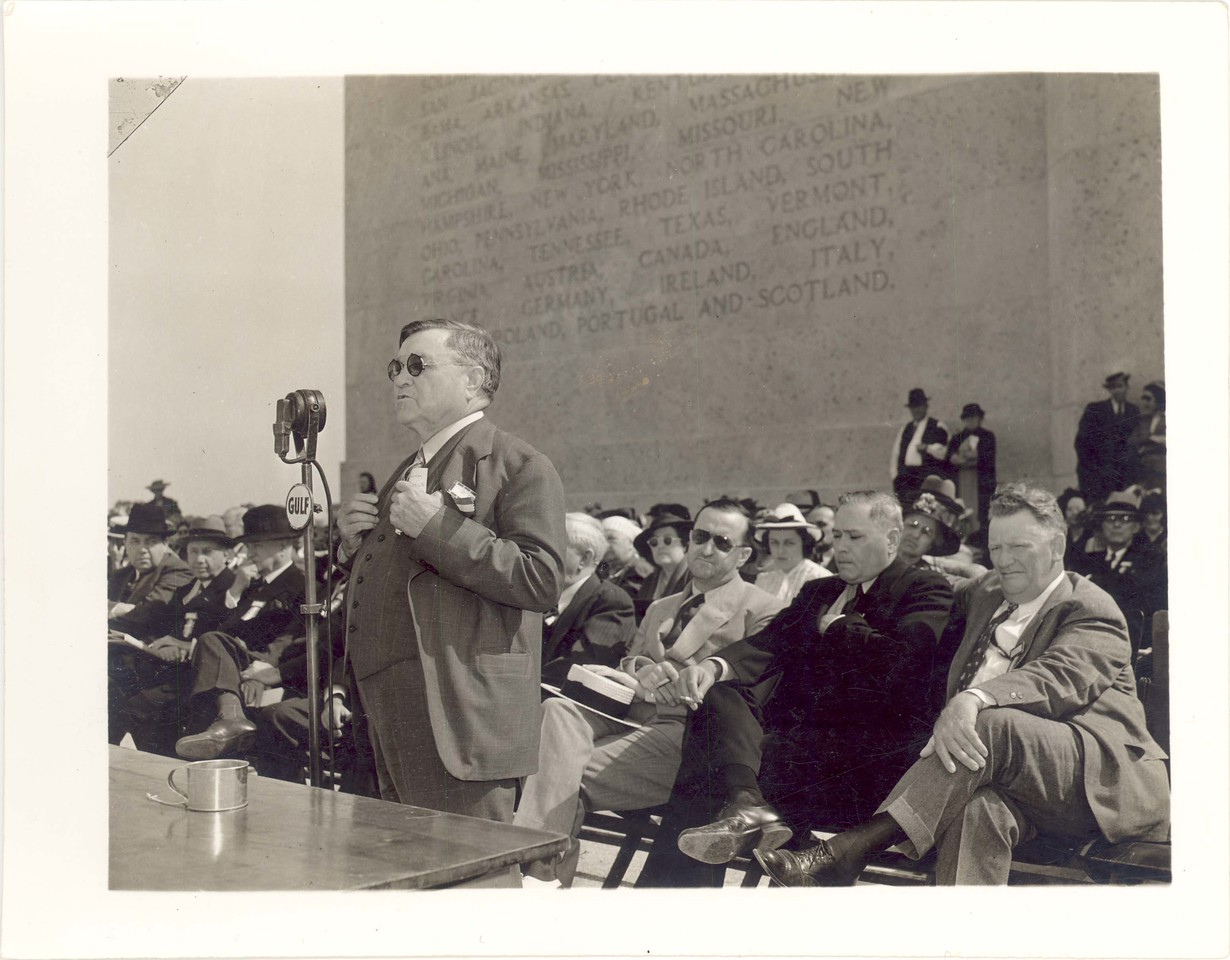 "Clarence R. Wharton at the afternoon session on April 21, 1939: ""This ostentatious shaft marks the scene of one of the major events of history.  Here culminated the struggle which had been going on for more than three centuries for the mastery of North American and which determined for all time that the country west of the Mississippi to the Pacific should be part of the United States."""