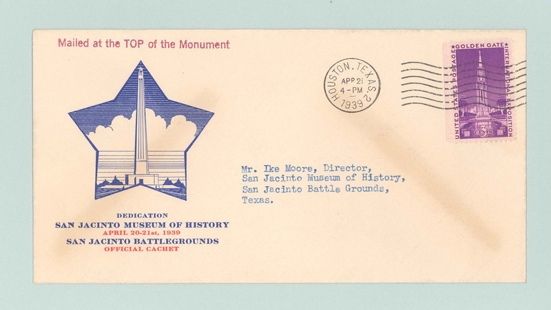 This example of the cachet was one of several mailed to the museum's director, Ike Moore, on April 21, 1939.  $241.49 worth of cachets were sold over the two-day period, costing $39.47 for stamps.