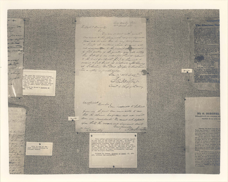 This photo shows part ot an exhibit of Thomas W. Streeter's collection of Texana, on loan to the museum for the opening.  The center letter is from Sam Houston to Phillip Dimmitt; it tells of the fall of the Alamo, and commands Dimmitt to fall back to headquarters.  Other significant collections on loan were those of Emil Hurja and Everette DeGolyer.