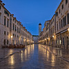 Stradum, the main street of Dubrovnik, in the early morning. The polished stone blocks of the street floor invite to walk barefoot :)