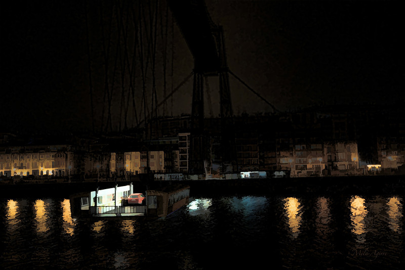Bizkaiko zubia gauaz (Portugalete, Areeta)<br /> Biscay Bridge at night (Portugalete, Areeta)