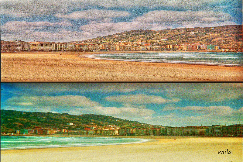 Zurriola (Donostia)<br /> Zurriola beach in Donostia <br /> The photo was taken with a ActionSampler Clear camera and edited with CS4