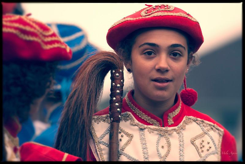 Txerreroa (Xiberoko maskarada, 2012).<br /> Basque dancer of the red Soule Maskarada representing a person on horseback (Xiberoa, maskarada 2012)