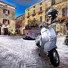 Vespa, the most popular scooter in Italy (Montepulciano, Tuscany)