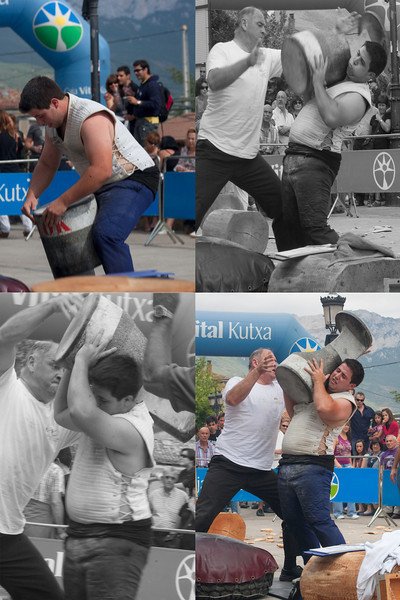 "Harrijasotzaile (stone lifting), Basque Country, 2010 .<br /> In every Basque festival there is a time for rural sport. Stone lifting is one of many Basque rural sports (herri kirolak) that measure strength and endurance. To be a champion lifter, you have to be able to hoist 220-550 pound rocks as many times in a row as possible.<br /> <br /> <a href=""http://en.wikipedia.org/wiki/Harrijasotzaileak"">http://en.wikipedia.org/wiki/Harrijasotzaileak</a>"