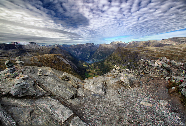 Fantastic view over the Geiranger fjord from Dalsnibba mountain