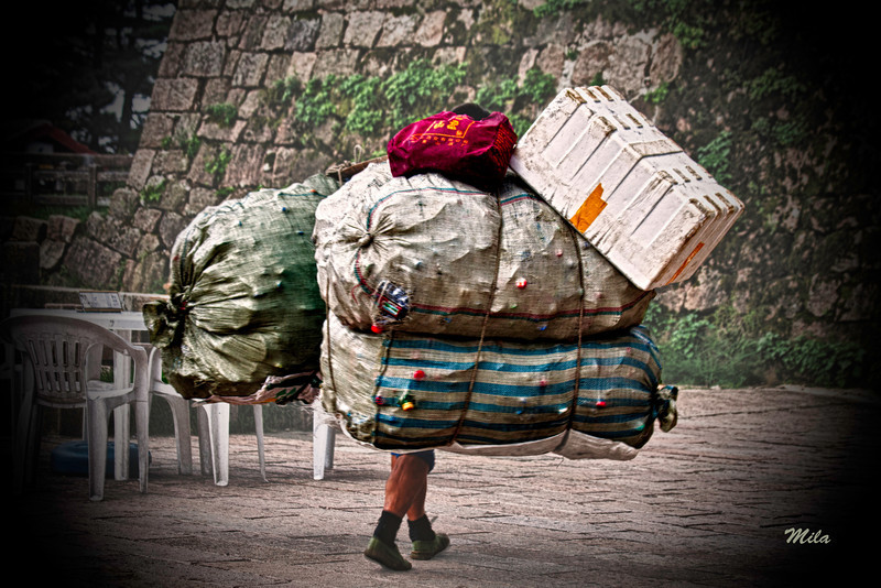 Worker carrying heavy loads up the mountain (Huangshan-Yellow Mountains, China),