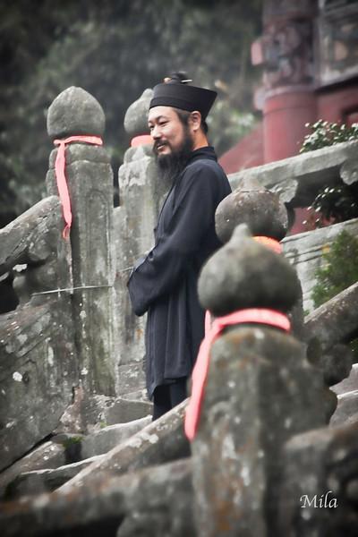Taoist monk at the Purple Cloud Temple
