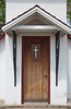The Norlund Chapel entrance door in Emo, Ontario, Canada.