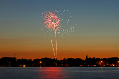 American celebrate 4th of July with fireworks on Belle Isle