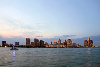 View of Detroit skyline on the Detroit River before the fireworks begin