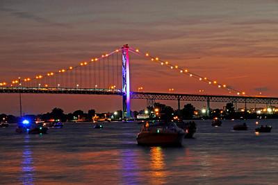 The Ambassador Bridge is all lit up