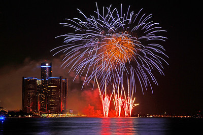 Fireworks on Detroit River