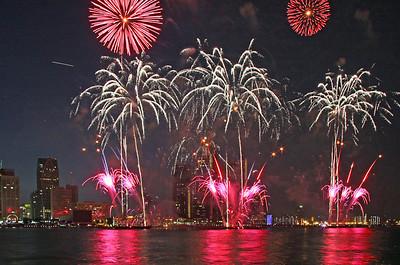 The opening salvo of fireworks  FIREWORKS: http://www.naturesongs.com/fireworks1.wav