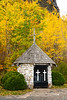 A small chapel and fall foliage color at the Mount McKay lookout Thunder Bay, Ontario, Canada.